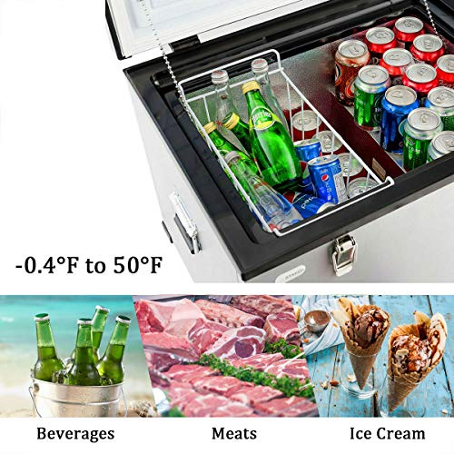 COSTWAY Chest Freezer, 63-Quart Compressor Travel Car Freezer, -0.4°F to 50°F, Portable and Compact Vehicle Electric Cooler Fridge, for Meat, Vegetable and Drinks, for Car, Home, Camping, Truck Party