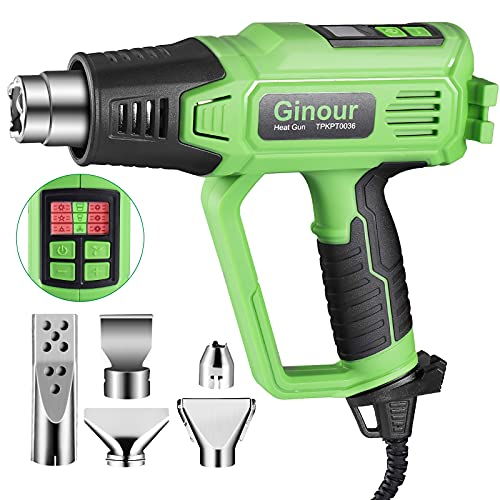 2000W Heat Gun, Ginour Hot Air Gun Kit with LED Display 5 Nozzles, 6 Variable Speeds, Dual Temperature Control (50℃- 600℃), for Removing Paint, Welding Hoses, Ignition Charcoa, with Cold Air Function