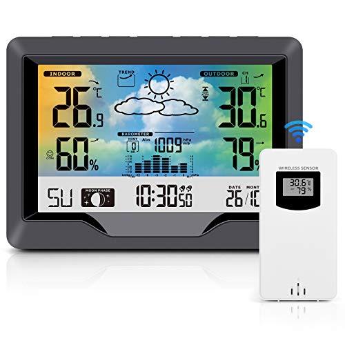 SOSPIRO Wetterstation Funk mit Außensensor, Multifunktion Funkwetterstation mit Farbdisplay Digital DCF-Funkuhr Innen und Außen Thermometer Hygrometer Wettervorhersage Uhrzeitanzeige und Wecker