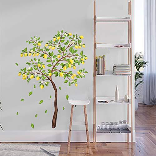 decalmile Adesivi Murali Limone Albero Fiori Adesivi da Parete Verde Foglie Decorazione Murale Camera da Letto Soggiorno Ufficio (H: 106 cm)