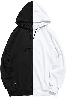 ZAFUL Casual Unisex Hoodie Long Sleeve Color Block Pullover Drawstring Pocket Sweatshirt
