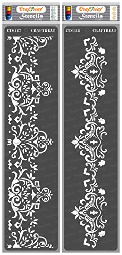 CrafTreat Border Stencils for Painting on Wood, Canvas, Paper, Fabric, Floor, Wall and Tile - Border 1 - 3x12 Inches - Reusable DIY Art and Craft Stencils for Borders - Damask Border Stencils
