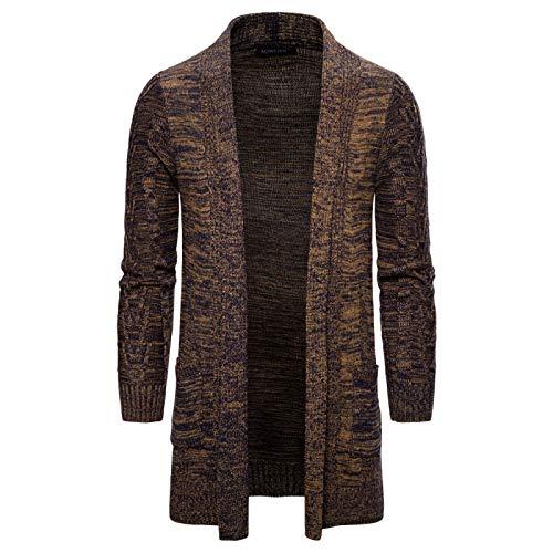 Abrigo de suéter para Hombre Moda de Longitud Media Simple Manga Larga Casual Cómoda Chaqueta de Punto versátil con Bolsillos M