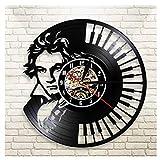 Reloj de Pared Vintage,Reloj Pared de Disco de Vinilo Silencioso Decoración para Habitación Dormitorio Cocina Oficina Bar 30CM。 Arte de Piano de Retrato