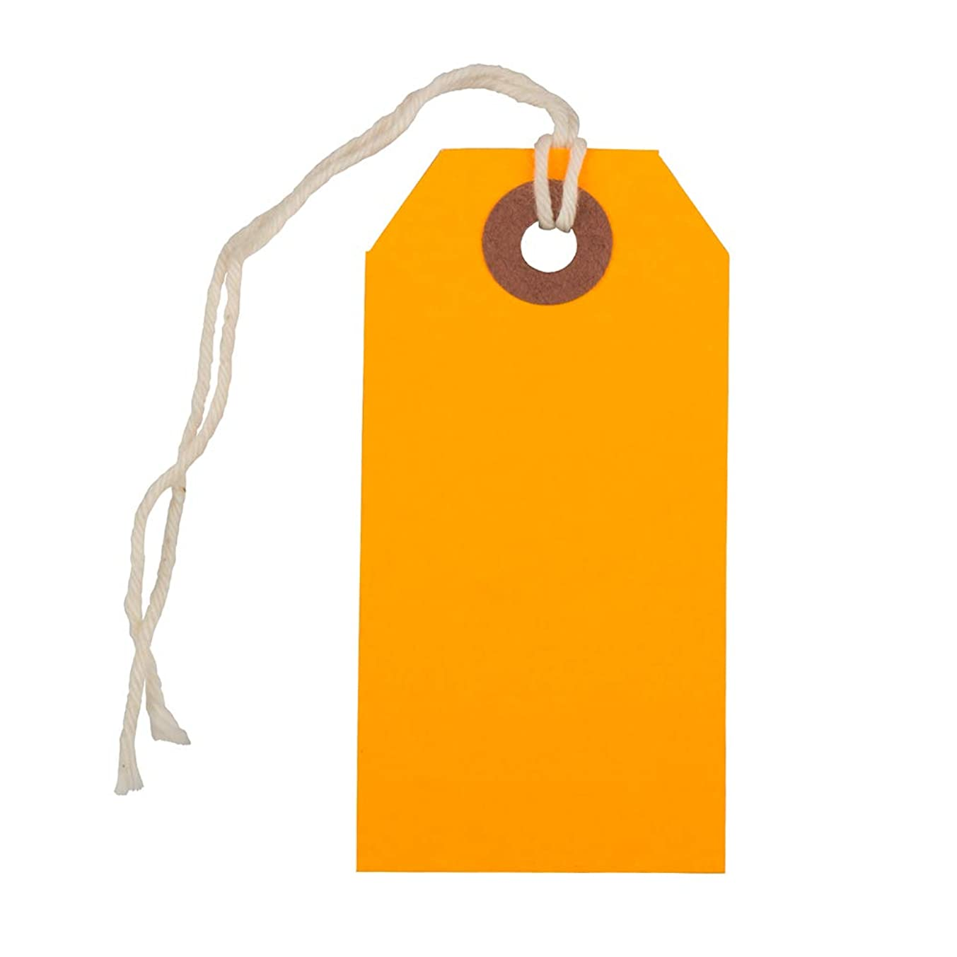 JAM PAPER Gift Tags with String - Small - 3 1/4 x 1 5/8 - Neon Orange - Bulk 100/Pack