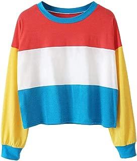 ZYEE Clearance Sale! Women Sweatshirt Cut Sew Oversized Sweatshirt Color Block Striped Long Sleeve Crop Top