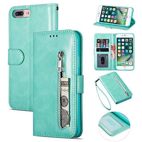 ZTOFERA iPhone 6 6S Hülle, Flip Leder Magnetisch Folio Wallet Standfunktion Reißverschluss schutzhülle mit Trageschlaufe, Brieftasche Hülle für iPhone 6/iPhone 6S - Minzgrün
