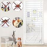 Mosquitera Puerta Magnetica, Malla Pantalla de puerta con ganchos adhesivos Cintas y cremallera para dormitorio Sala de estar Cocina Balcón 31x79in (rayas blancas)