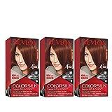 Revlon Colorsilk Beautiful Color, Permanent Hair Dye with Keratin, 100% Gray Coverage, Ammonia Free, 31 Dark Auburn (Pack of 3)