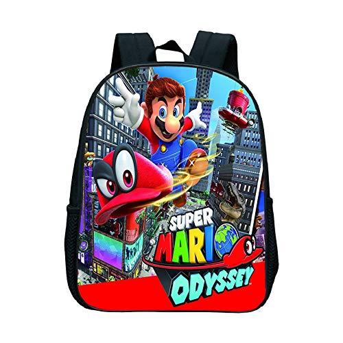 QIANMA Mario Mochilas Niños Escuela Bolsas Cartoon Muñeca Super Mario Impresión Mochilas para Niños Niñas Mario Bros Bag Estudiantes