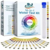 16 in 1 Drinking Water Test Kit | Hard Water Quality Tester for Aquarium, Pool, Spa, Well & Tap Water | High Sensitivity Test Strips detect pH, Hardness, Chlorine, Lead, Iron, Copper, Nitrate, Nitrite