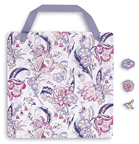 Vera Bradley Hanging Pink Floral Magnetic Memo Board with 3 Shaped Magnets for Home/Office/Dorm/Kitchen, Hummingbird Park