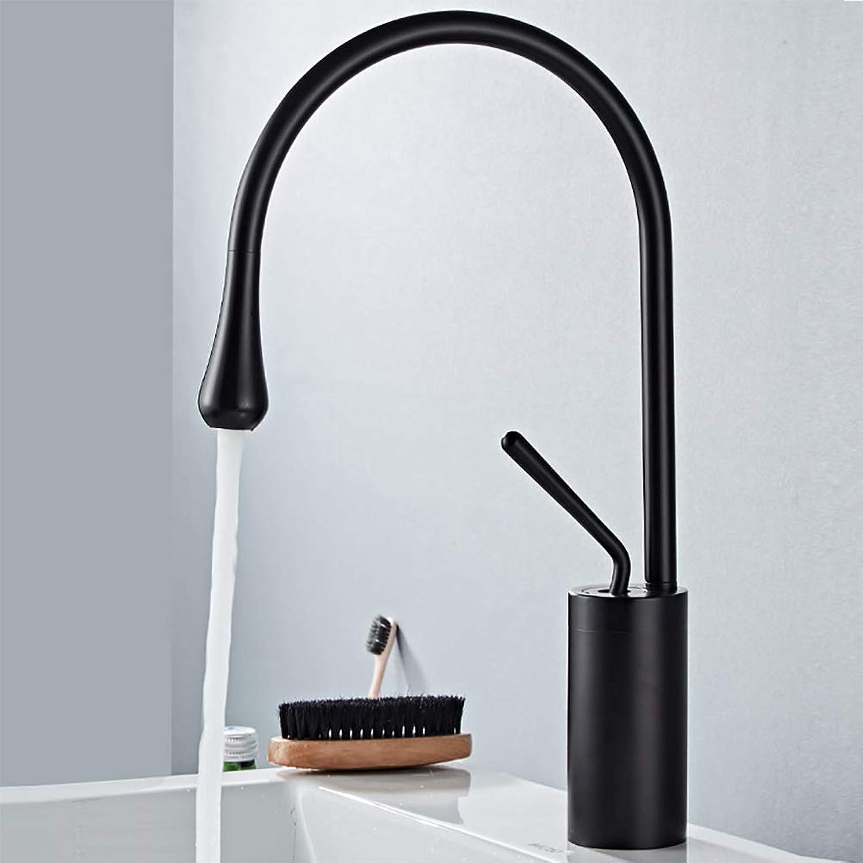 LUTAP Wasserhahn Nordic Bad Kupfer Schwarz Matt warmes und kaltes Wasser Mischen 360 ° drehbare Ventilspulenhahn aus Keramik,schwarz,380mm