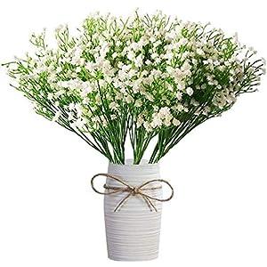 Silk Flower Arrangements FRP Flowers - Baby's Breath 14 PCS - Gypsophila Bouquet Approx. 882 PCS Artificial Flowers for Floral Arrangements and Home Decor 16 Inches (White)