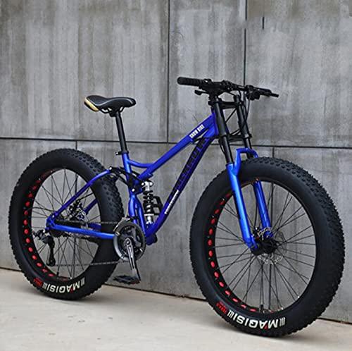 UYHF 26'Bicicletas De Montaña, Bicicleta De Montaña De Neumáticos De Grasa para Adultos,Bicicleta De 21 Velocidades, Marco De Acero con Alto Contenido De Carbono, Doble Blue- 24 Speed