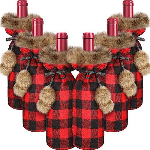 ACAMPTAR 6 Piezas de Navidad Fundas para Botellas de Vino Plaid Wine Bottle Holder SuéTer de Piel SintéTica Bolsas para Botellas de Vino