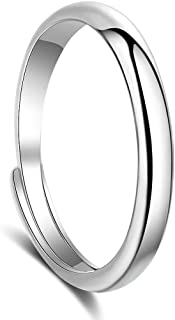 Sterling Silver Ring 925,Adjustable,3mm,Suitable for Men and Women,Couples,Girl Friend,Normal Size 7 (Sterling-Silver, Adjustable)