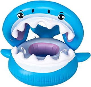 J-ouuo Baby Pool Float Inflatable Shark Swimming Boat Float with Canopy Sun Shade Outdoor Water Toys for for Babies and Toddlers