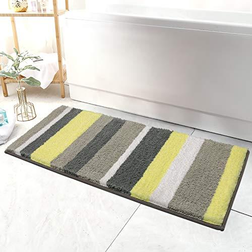 HEBE Microfiber Bathroom Rugs Runner Striped, Non Slip Accent Spa Rugs for Bathroom Absorbent Bath Rug Floor Mat Runner Machine Washable(18x47.2, Yellow/Grey)