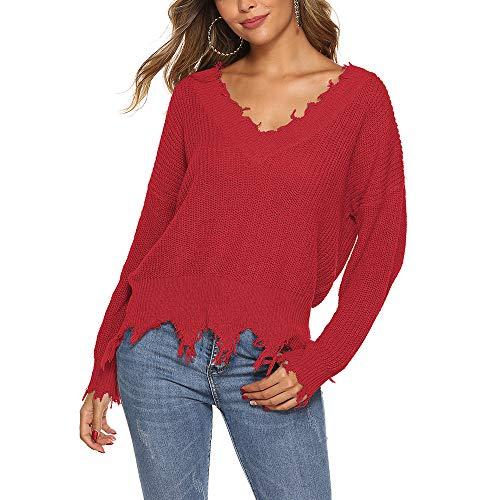 TINERS Las Mujeres V Profundo Grueso suéter de Punto Irregular con Flecos Jersey Suelto suéter,Rojo,S