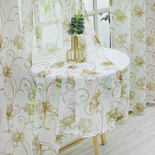 Delien Voile Schiebegardinen Blumendruck Landhausstil Vorhang Flächenvorhänge Transparenter Gardine mit Schlaufen Wohnzimmer Fensterschals (1er-Pack, je H/B: 225/140 cm),Kaffee