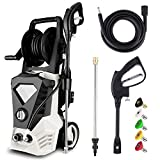 Electric Pressure Washer 3500PSI 2.6GPM High Power Washer with 32ft Cable and 5 Quick-Connect Spray Nozzles for Cleaning Homes, Cars, Decks, Driveways, Patios (White)