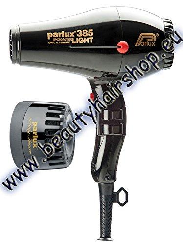 PARLUX 385 PowerLight Ionic & Ceramic Professional Haartrockner schwarz + Schalldämpfer