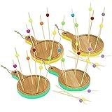 com-four® 34-teiliges Tapas Set aus Holz, Servierbretter und Holzspieße für Snacks, Fingerfood, Anti-pasti, Tapas, Käse, Obst und mehr (34-teilig - Rund gelb/türkis)