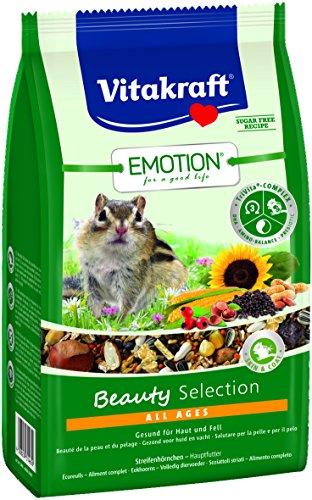 Vitakraft Alleinfutter für Streifenhörnchen, Nüsse, Hagebutten und Shrimps, TriVita-Complex, Emotion Beauty Selection All Ages