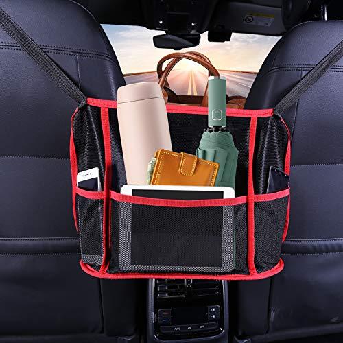 ONMIER Car Net Pocket Handbag Holder,Car Cache - Seat Back Organizer Mesh Large Capacity Bag for Purse Storage Phone Documents Pocket, Barrier of Backseat Pet Kids - Driver Storage Netting Pouch(Red)