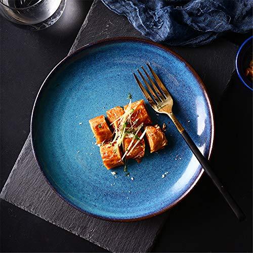 XIAOLULU-Bowl Assiettes à dîner en Porcelaine Assiette à Couverts Kars Blue Glaze Assiette Maison de 8 po Assiette à Salade Creative Assiette Western Idéal pour Le Camping, la randonnée, Les Voyages