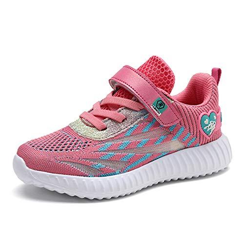 Minbei Unisex Kinder Hallenschuhe Girls Sneakers Atmungsaktive Sportschuhe Laufschuhe Mädchen Leichte Turnschuhe Rosa 31 EU