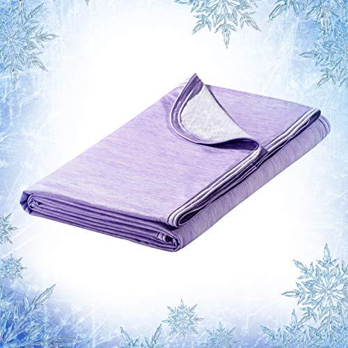 Elegear Selbstkühlende Decke Kühldecke Decke - Zweiseitige Decke mit Japanische Arc-Chill Q-Max 0.4 Kühlfasern Absorbieren Körperwärme Kühldecke Kuscheldecke Sofadecke Reisedecke 130*170cm Violett