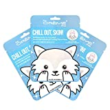 The Crème Shop | Korean Skin Care Chill Out, Skin! Animal Arctic Fox Face Mask Sheet 3 Pack - Infused with Hydrating & Cooling Glacial water