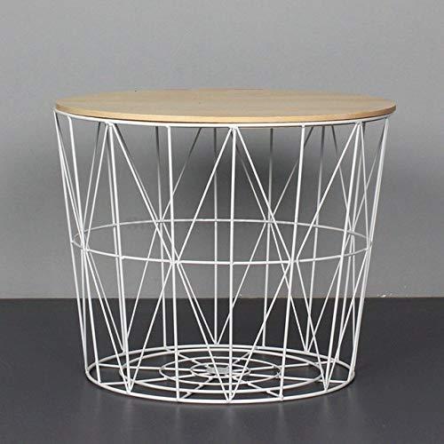 Nachtkastje LKU Wind eenvoudige ijzeren bijzettafel kleine salontafel kleine ronde tafel nachtkastje hoek opbergmand, groot 50cm