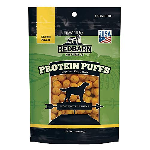 Redbarn Protein Puffs for Dogs   A Human-Grade High-Protein Training Treat or Food Topper   Made in The USA (Cheese, Pack of 3)