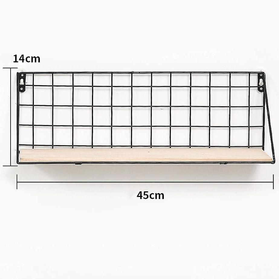 結び目解明するエラー壁に取り付けられた浮遊棚金属線木製収納ラックリビングルームキッチン装飾グリッドパネル吊りトレイ現代ロフトディスプレイラック (Size : 45x14cm)