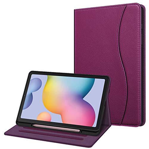 Fintie Hülle für Samsung Galaxy Tab S6 Lite, Soft TPU Rückseite Gehäuse Schutzhülle mit S Pen Halter & Dokumentschlitze für Samsung Tab S6 Lite 10.4 Zoll SM-P610/ P615 2020, Lila