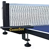 Comesee Professional Table Tennis Ping Pong Net Post Set Strength Screw Clamp with Net Clip Insert, 1.5 Inch...