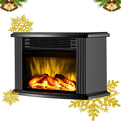 """Donyer Power 14"""" Mini Electric Fireplace Tabletop Protable Heater, 1500 W, Black Metal"""