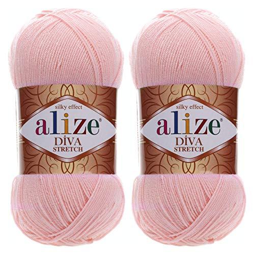 Alize Diva Stretch Thread Crochet Hand Knitting Lot of 2skn 200gr 875yds 100% Elastic Microfiber Acrylic Stretch Bikini Yarn (363-Wedding Pink)