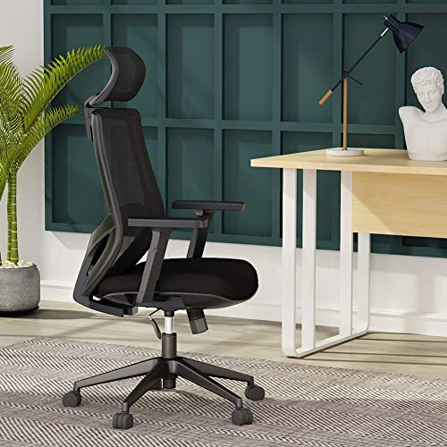 Ergonomic Office Chair, Mesh Chair with Lumbar Support, Tribesigns High Back Desk Computer Chair with Breathable Mesh, Thick Seat Cushion, Adjustable Armrest, Backrest and Headrest, BIFMA Certified