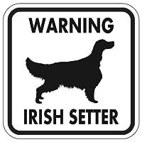 WARNING IRISH SETTER マグネットサイン:アイリッシュセッター(ホワイト)Sサイズ