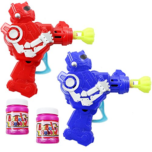 com-four 2X Robot Sparabolle di Sapone in Colori Diversi con 60 ml di Acqua Saponata ciascuno per Un Divertimento di Lunga Durata (02 Pezzi - Robot)