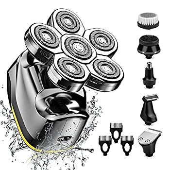 Electric Head Shaver for Men-Electric Rotary Razor & Grooming Kit Upgrade 6 in 1 Wet&Dry Six-Head Shaver Cordless Rechargeable Hair Beard Clippers Nose Beard Trimmer -Waterproof LED Display  Silver