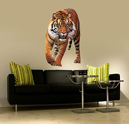 Wall Sticker Nr,656 Running Tiger Size: 43 x 70 CM Wall Art Sticker Wall Stickers Big Cat Pendants Tigga India by Unbekannt