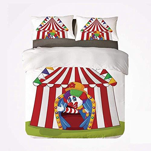 Qoqon Funda nórdica Set Circus Decor Cómodo Juego de 3 Camas, Ilustración del Payaso de Dibujos Animados Salir de la Carpa del Circo Smile Joker Enjoy for Hotel