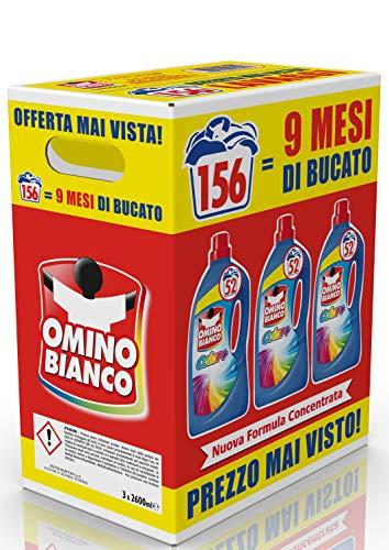 Omino Bianco Detersivo Lavatrice Liquido Color+, Specifico per Capi Colorati, Tecnologia Salva i Colori e Cattura il Grigiore, 156 Lavaggi, 2600 ml x 3 Confezioni