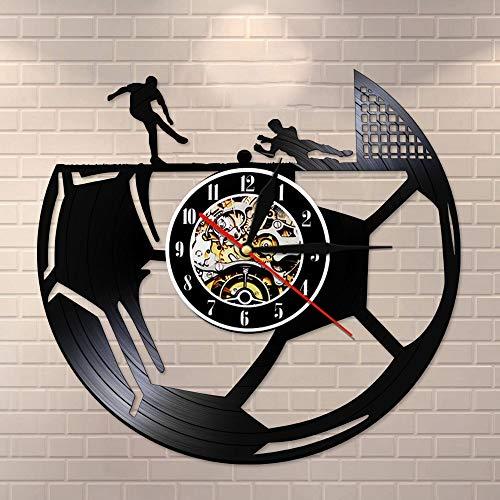 wtnhz LED Colorful vinyl wall clock Football Retro Vinyl Record Wall Clock Boy Room Decoration Football Wall Clock Sports Theme Clock For Fans Lovers