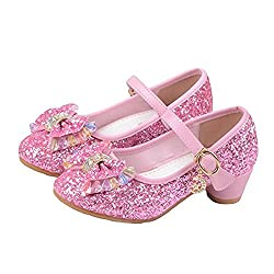 Princess Cosplay Sequin Low Heeled Pink Shoe